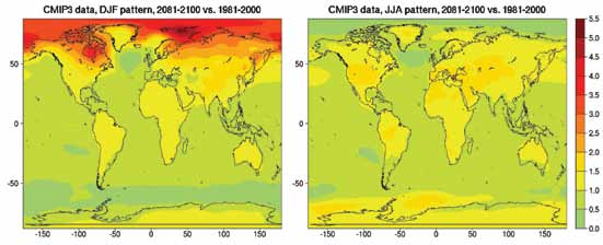 Using the same general approach as for temperatures, regional and seasonal maps have been produced that depict the percentage change in precipitation expected for every 1 C of global warming.