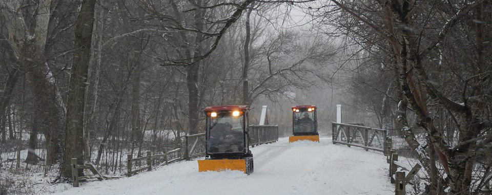 Above: In Columbus, Ohio, trail plowing equipment is owned and operated by the agency, Metro Parks, and is used to maintain several Greenway systems. They deploy if snow is greater than 2 inches.