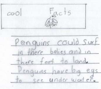 Transcript: Penguins Kindergarten: Above Grade We are Experts: Penguins This task was administered three weeks into a four-week unit on non-fiction reading and writing.