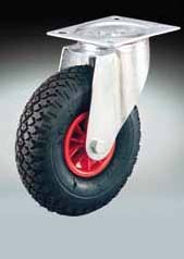 finished red, and 2 ply pneumatic ribbed rubbed tyre Ø 350 PNLB Mozzo con boccole in poliammide