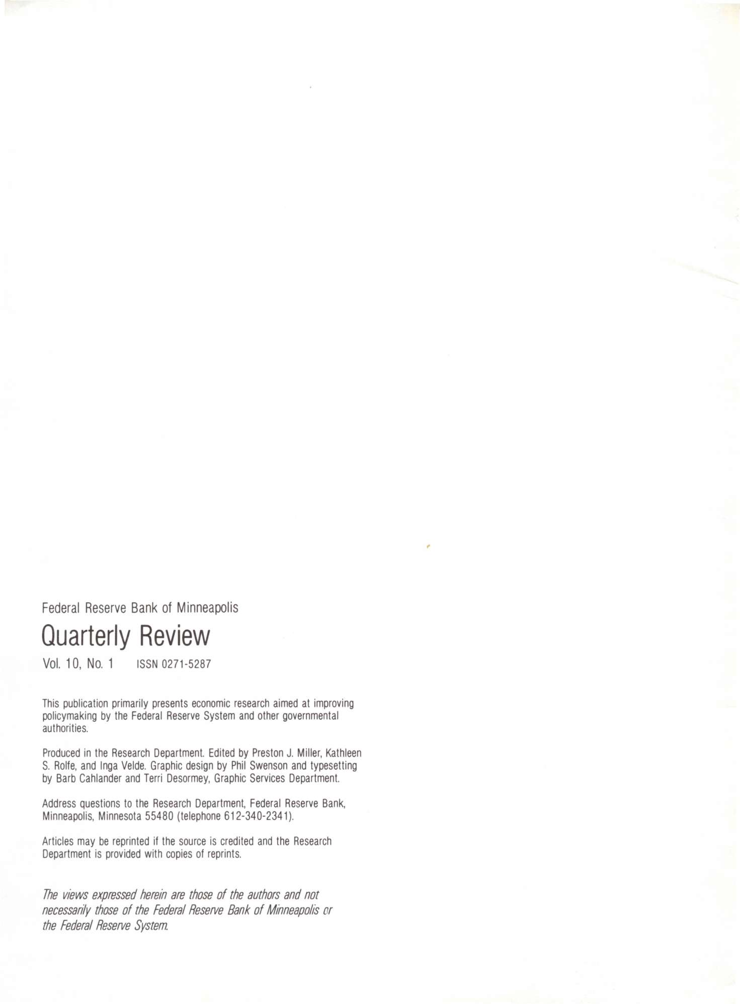 Federal Reserve Bank of Minneapolis Quarterly Review Vol. 10, No.