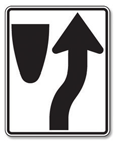 Traffic in the lane must turn in the direction of the arrow.