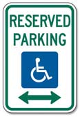 Disabled Parking: Parking spaces marked with these signs are reserved for people with disabled parking permits.