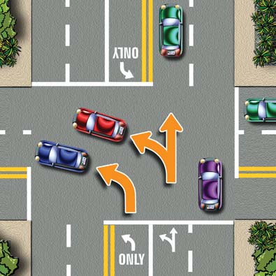 You may not cross the lines unless you are making a left turn. Broken white lines separate lanes of traffic going in the same direction. You may change lanes with caution.