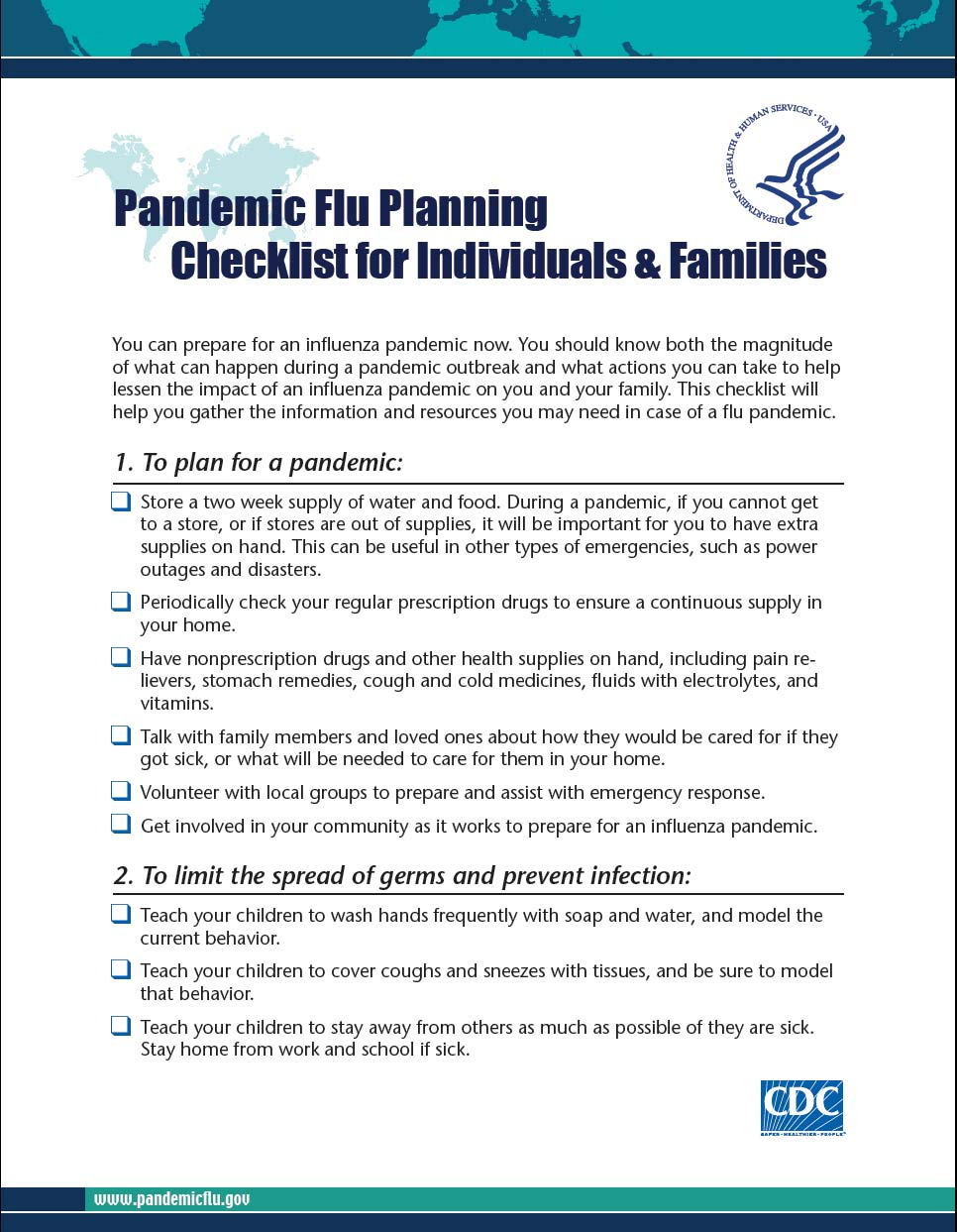 Be Prepared for a Flu Pandemic 26 This checklist