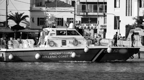 During their nightly operations the coast guard of Lesbos act in a manner which would only appear legally justified in times of war: The patrol boats extinguish their lights on leaving the harbour.