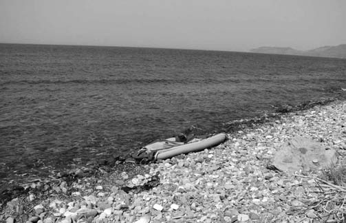 1. The practices of the Greek coast guard: systematic human rights violations Northcoast of Lesbos: marooned rubber dinghy.