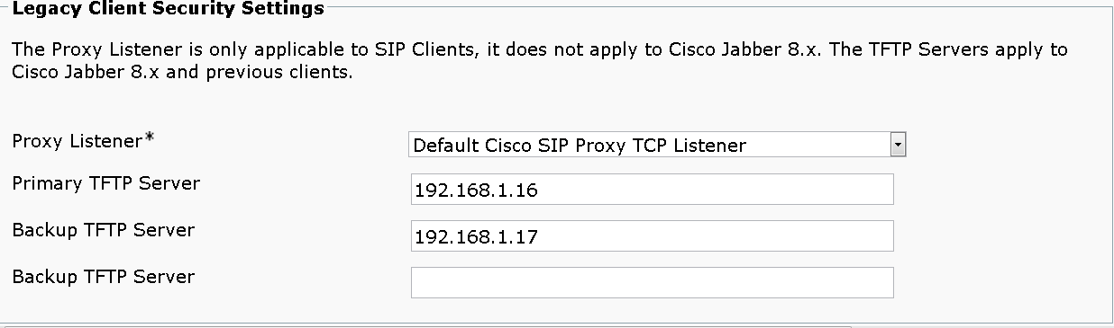 Step 7: Navigate to Application > Legacy Clients > Settings, enter the following information, and then click Save: Primary TFTP Server 19