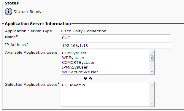 Step 6: On the first Application Server Configuration page, in Application Server Type list, choose Cisco Unity Connection, and then click Next.