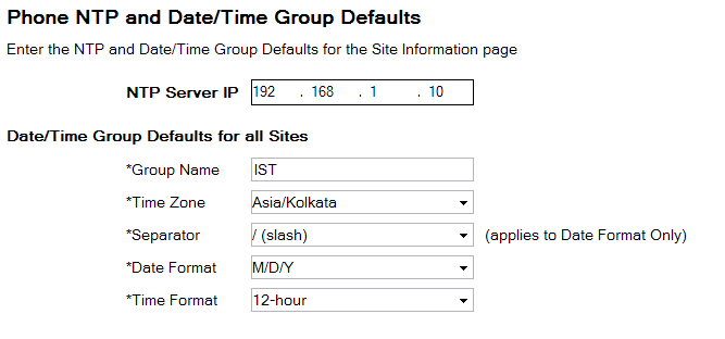 Step 7: On the Phone NTP and Date/Time Group Defaults page, enter the following information, and then click Next: NTP Server IP