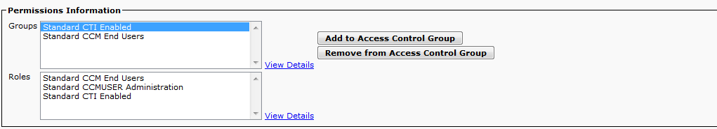 Step 3: On the End User Configuration page of Unified CM administration, select the user and add access control group permissions for the end users.