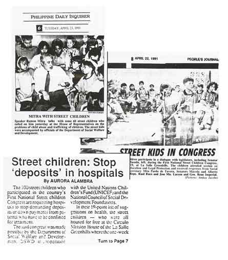 At the weeklong 1991 National Street and Working Children s Congress in the Philippines, I observed over 100 children, aged 8 to 18 years, listen intently as they performed for one another moving