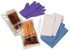 Solutions Wet Skin Scrub Packs include: 1 CSR wrap 2 Cotton tipped applicators 1 Pair nitrile latex-free, powder-free gloves 2 Blue blotting towels 2 White absorbent towels 41529 Unwrapped gloves, 2