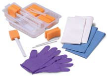 1-800-962-9888 Patient Prep Curity Sterile Dry Skin Scrub Prep Products Dry Skin Scrub Trays include: 1 CSR wrap 2 White absorbent towels 1 Ring forceps (5-inch long) 2 Cotton tipped applicators 1