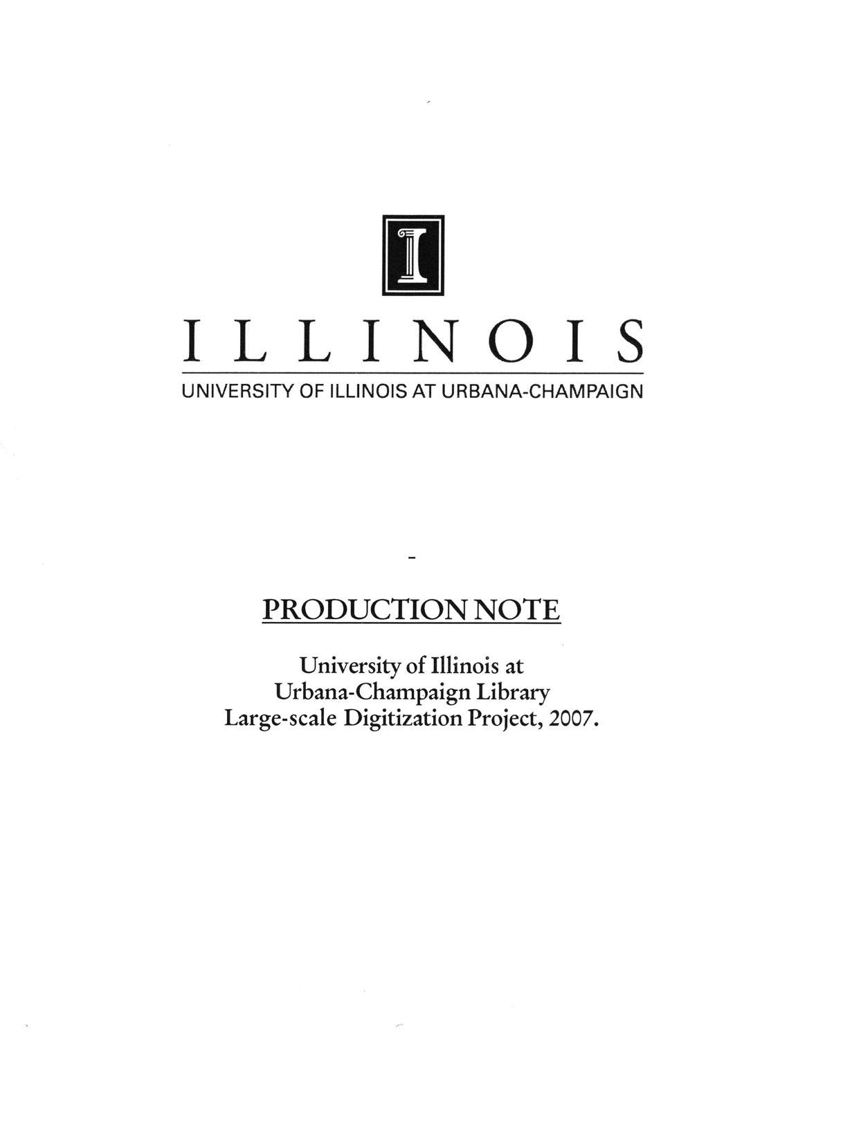 I LLINOI S UNIVERSITY OF ILLINOIS AT URBANA-CHAMPAIGN PRODUCTION NOTE