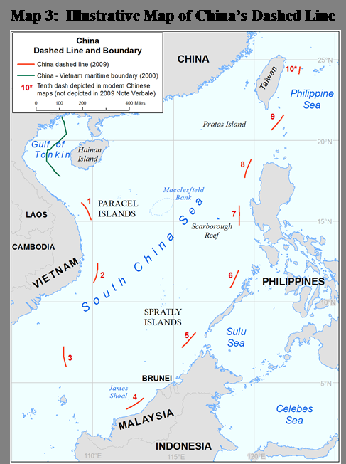 4 Geographic Description 9 The map included in China s 2009 Notes Verbales contains nine dashes that encircle islands, waters, and other features of the South China Sea.