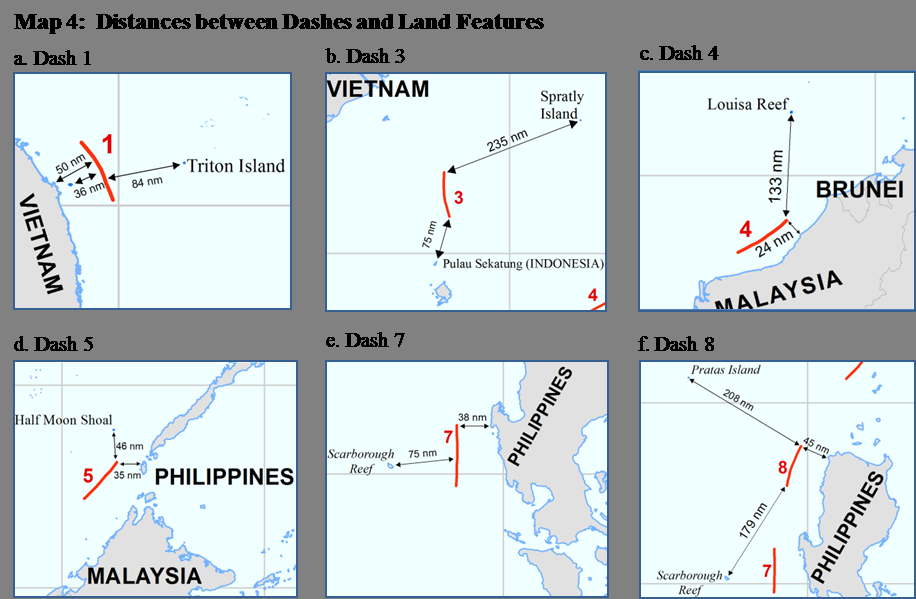 5 dashes are located in relatively close proximity to the mainland coasts and coastal islands of the littoral States surrounding the South China Sea.