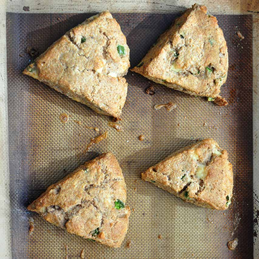 Whole-Wheat Jalapeño Cheddar Scones m a k e s s i x $ 4.50 t o t a l $ 0.75 / s c o n e These are delicious for breakfast or with a plate of beans, a pile of vegetables, or alongside a chili or stew.