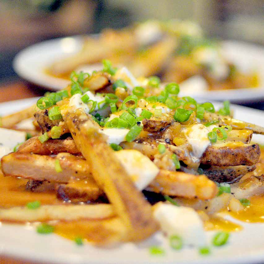 Poutine f o r fo u r Poutine isn t an everyday meal, but it s a favorite. Since I don t like deep-frying at home, I bake the fries; they still get crispy without the fuss of frying.
