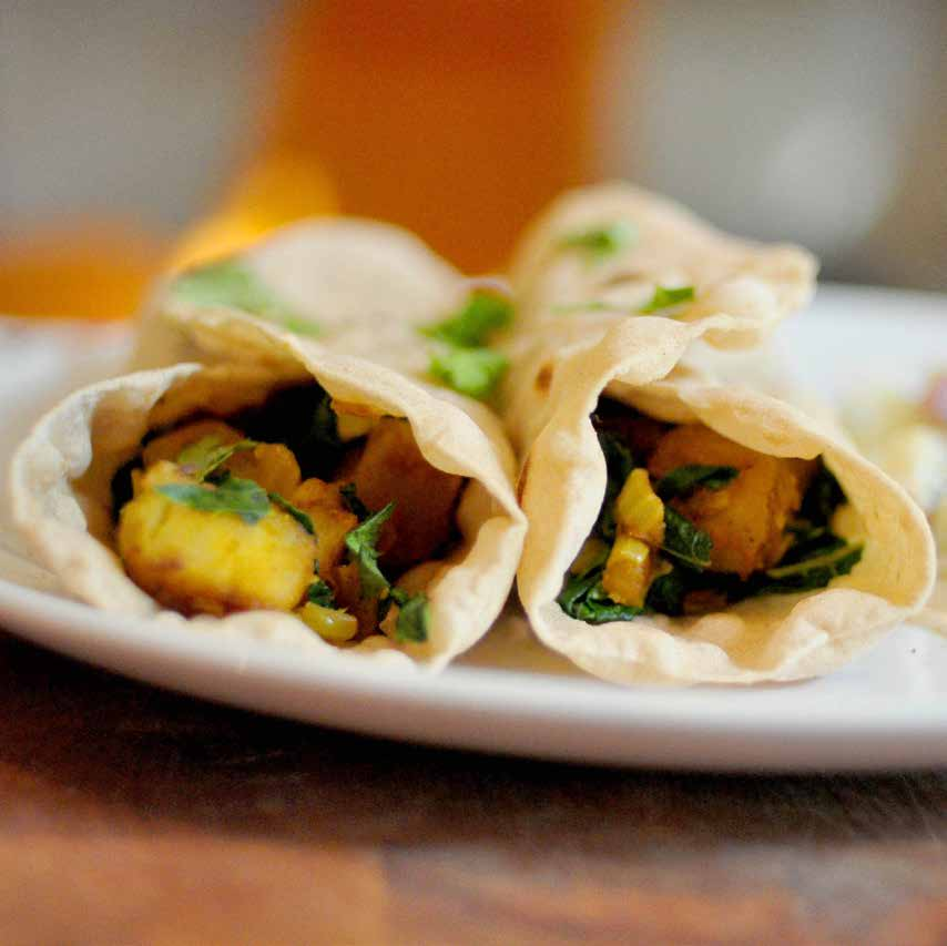 Potato and Kale Rolls with Raita f o r fo u r Put a skillet on medium heat and add the ghee or butter.