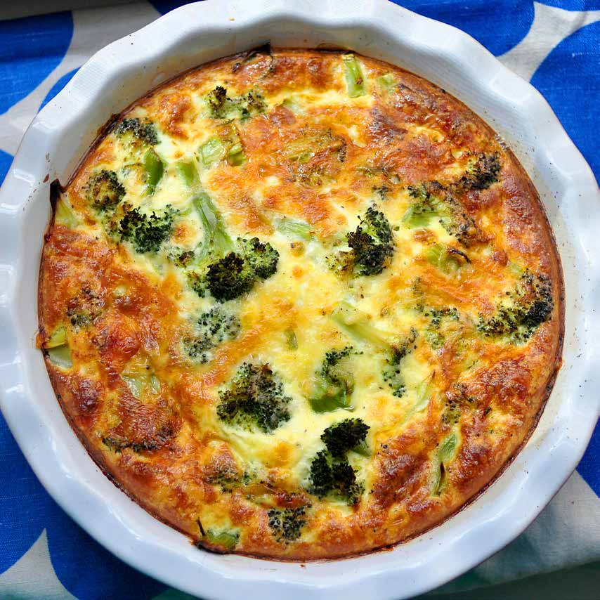 Vegetable Quiche, Hold the Crust f o r fo u r Much as I love this quiche hot, I like it even better cold out of the fridge the next day. It makes a great fast breakfast or lunch.