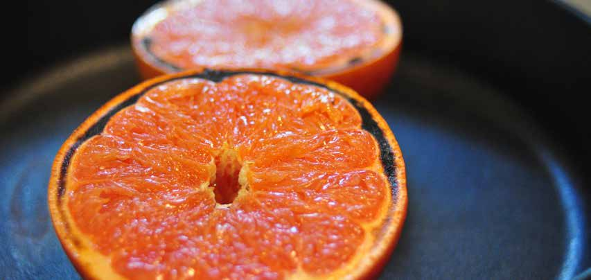 grapefruit. This method produces a hot and sticky treat. 2 grapefruit 2 tbsp brown sugar salt Turn on the broiler in your oven.