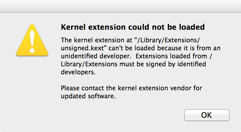 SIGNED KEXTS starting on os x mavericks, kexts must be signed kernel-mode blocking an unsigned kext user-mode