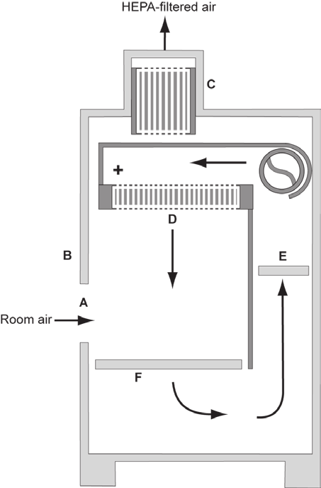 The tabletop model of a Class II, Type A2 BSC (A) front opening; (B) sash; (C) exhaust HEPA filter; (D) supply HEPA filter; (E) positive pressure common plenum; (F) negative pressure plenum.
