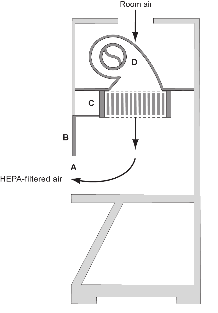 Figure 9B. The vertical laminar flow clean bench (A) front opening; (B) sash; (C) supply HEPA filter; (D) blower.