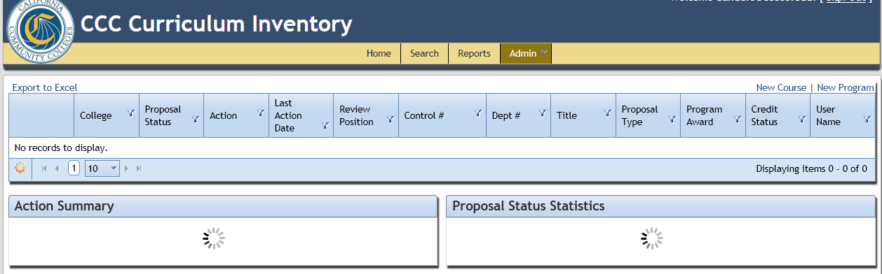 In addition to the search and report tabs (discussed previously under the Public Search Tool sub-section), this Admin tab serves as the primary means of navigating the Inventory.