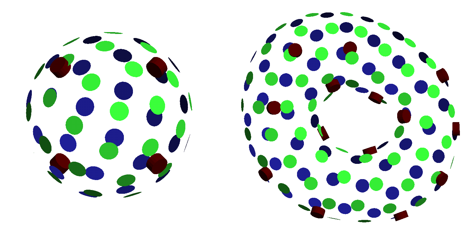 Figure 7: Interactive sculpting of interpolating implicit surfaces The left image shows an initial configuration with four boundary constraints (the red markers) The right surface is a sculpted torus