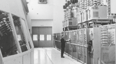 thousands of kilometers away, with remarkable efficiency and minimal environmental impact. Uno Lamm, pioneer of HVDC technology, in the Gotland control room, mid-1950s.