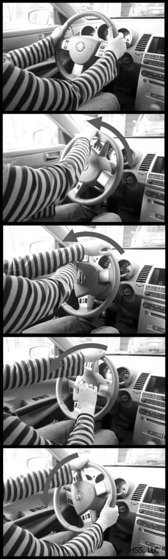 Hand-to-hand steering Use hand-to-hand steering, commonly called push/pull steering, when turning the wheel during normal driving activity going forward above 10-15 mph.