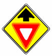 A round yellow warning sign with an X