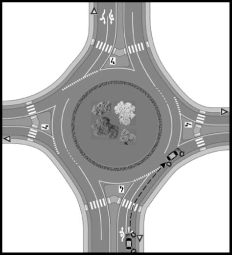 Be courteous and signal your intentions as you approach and drive through a traffic circle or roundabout.