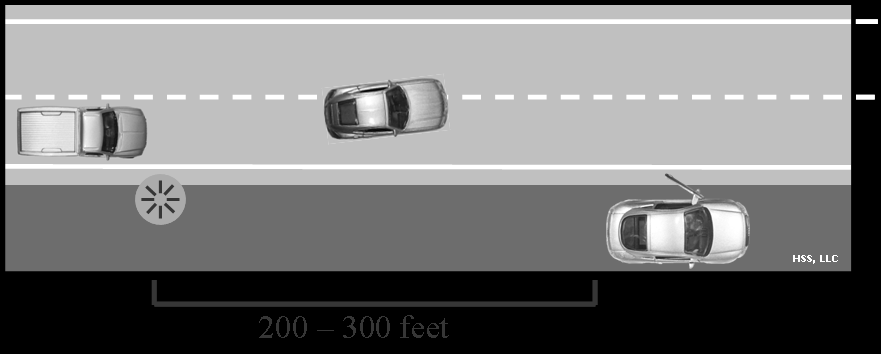 In urban areas signal [100] feet or 3 to 5 seconds before making a turn or a lane change. At speeds above 40 mph, signal [200] feet or 3 to 5 seconds before making a turn or a lane change.