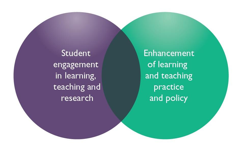 a) student engagement in learning, teaching and research; b) student engagement in the quality enhancement of learning and teaching practice and policy.