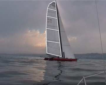 Even though the camera jerks, the zoom changes and the lighting conditions are poor, the sail is detected in all frames, such as those shown above, where a sufficient portion of the sail is seen. 4.