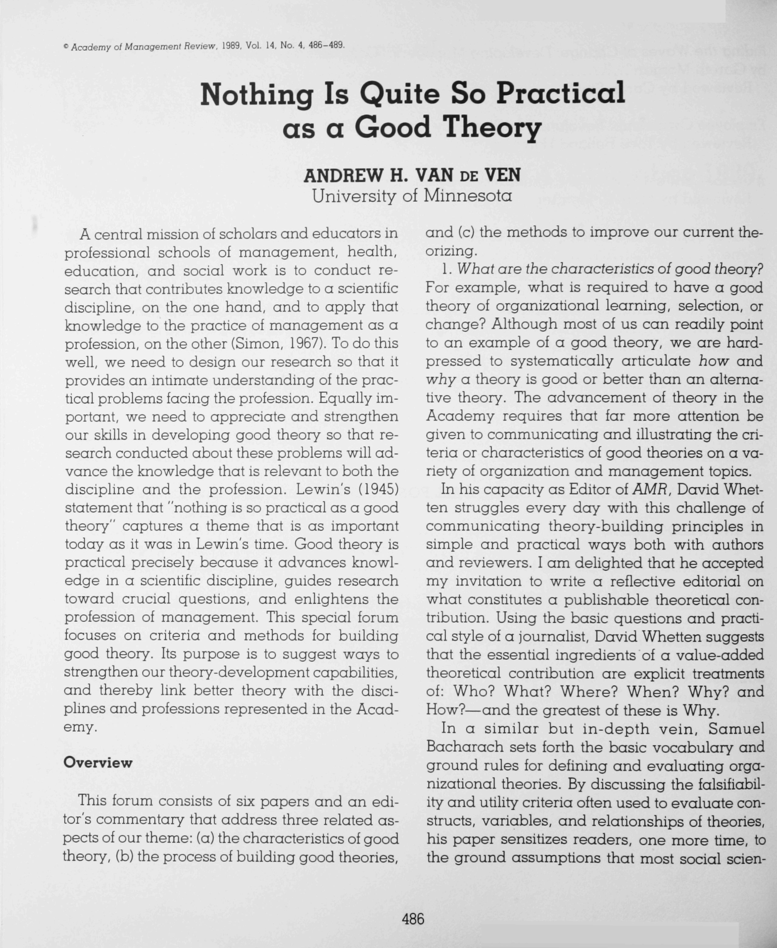 ^ Academy of Managemenl Review. 1989, Vol. 14, No. 4, 486-489. Nothing Is Quite So Practical as a Good Theory ANDREW H.