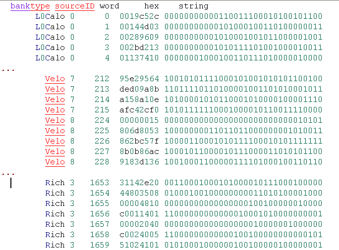 python i Ex9.py Examples: Dumping raw data Quite useful for studying data sizes of L1 boards, see also Raw Data sizes from gaudigadgets import getenumnames.