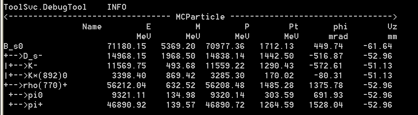 MC Decay Finder python i Ex12.py from ROOT import MakeNullPointer part = MakeNullPointer(GaudiPython.gbl.LHCb.MCParticle) MCDecayFinder = appmgr.toolsvc().