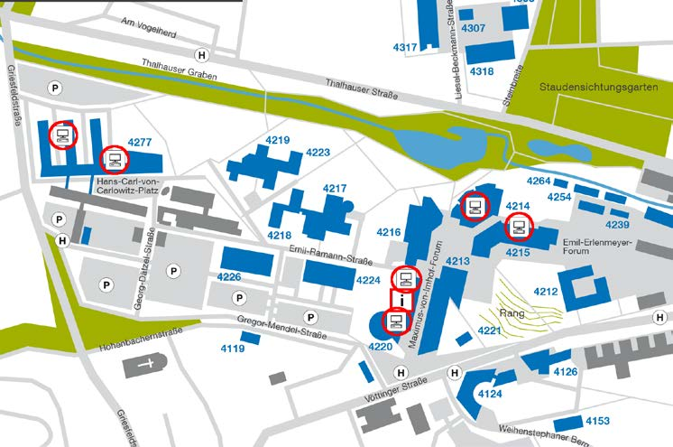 Positions of IT rooms on Campus Weihenstephan 4214 HU24A HU34A 4215 PU26 PU26A GIS Labor PU26B