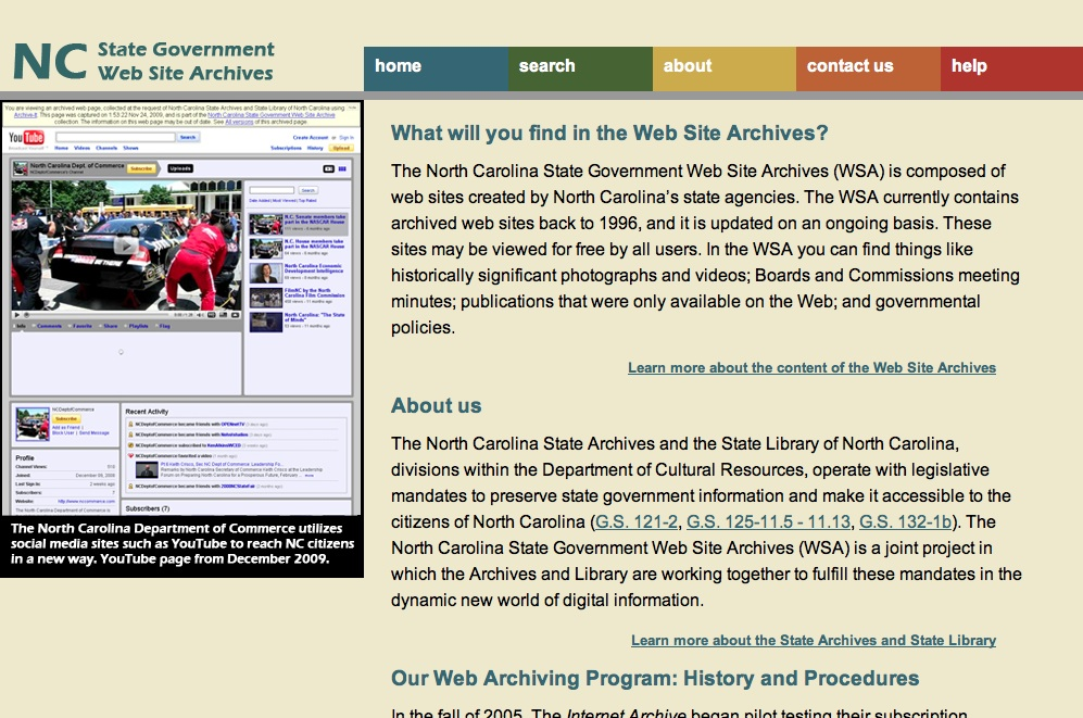 "The Outer Circle: Access/Use/Reuse 15 Figure 6. ""About"" the NC State Government Web Site Archives, http://webarchives.ncdcr.gov/about."