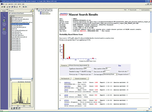 Data Explorer Chromatogram Precursor ion information (Charge state and retention time) MS Spectrum Chromatogram preview As a result of the MASCT