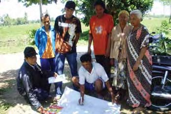 (left) and indonesia (right), community members conduct a walking tour of their village and create a sanitation map that shows access, coverage, and points of open defecation.
