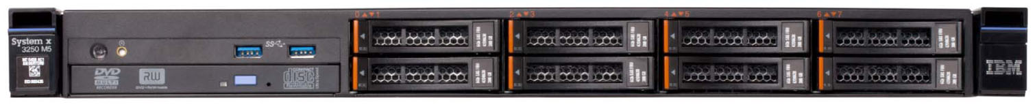 System x3250 M5 (withdrawn) Model 1 Intel Processor (one maximum) Second CPU RAID Disk bays (std / max) Disks Network I/O slots (std/max) Optical drive Power supplies Announced / Withdrawn 5458-A2x