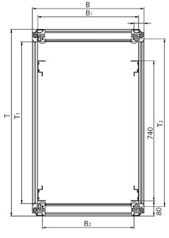 130 door opening angle in the rack suite and 180 as individual rack. Finish/Color Basic rack, polished. Visible surface of covers RAL 7021 dark-grey. Static load rating 15000 N (stationary model).