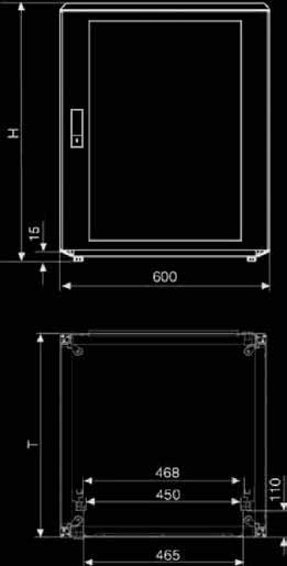 2 x side panels, IP 54, closed, stop on both sides. 1 x top cover, IP 54, closed. 1 x bottom cover, IP 54, closed. 1 x glass front door IP 54, lockable. 1 x rear panel, IP 54, closed, screwed.