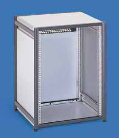 Die-cast aluminum frame. Aluminum extrusions. Color Panels RAL 7035 light-grey. Frame and extrusions, RAL 5008, grey-blue. 1 x frame rack incl. side covers. 1 x panel, above, with vent slots.