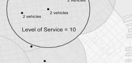 The correlation analysis shows that as level of service increases, so does the proportion of rental households, one-person households, households with low vehicle ownership, and transit and walking